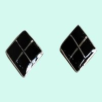 Mini Onyx Inlay Sterling Post Earrings