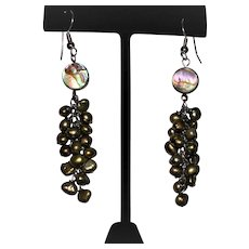 Bronze/Olive Green Baroque Pearl and Abalone Dangle Earrings