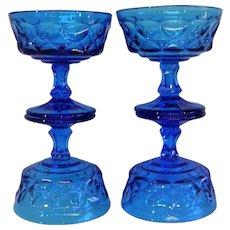 Mid Century Viking Glass Bluenique Sherbets
