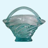 Vintage Aqua Swirl Glass Basket