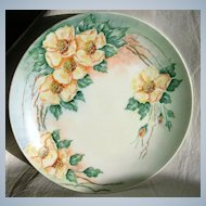 Beautiful Vintage Hand Painted Plate-Yellow Roses-1952