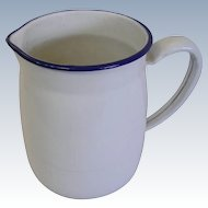 Vintage Enamelware White and Blue Pitcher