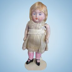 """4"""" Antique All Bisque Doll, German, 1880-1910, Painted Eyes."""