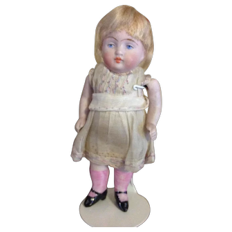 "4"" Antique All Bisque Doll, German, 1880-1910, Painted Eyes."