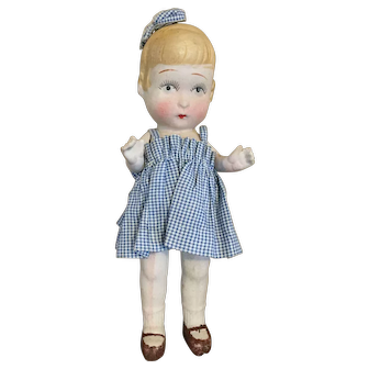 "7 1/2"" All Bisque Japanese Doll with Hair Bow"