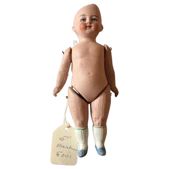 """5 1/4"""" All Bisque Jointed Doll with Intaglio Eyes"""