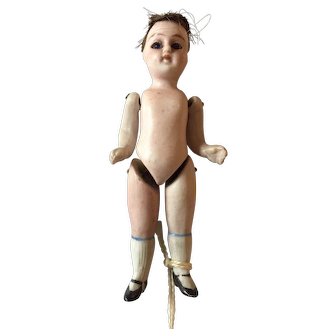 """3 1/2"""" All Bisque Doll with Glass Eyes and Wig"""