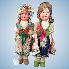 Pair of Celluloid Polish Girls in Traditional Costumes