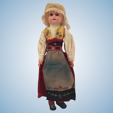 "11"" Celluloid Slavic Lady Doll"