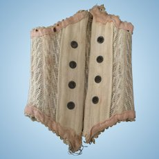 Antique cotton and lace doll corset.
