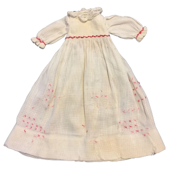 Old White window pane cotton dress and accompanying slip.
