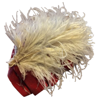 Rose Velveteen Hat With Large Feather Plume