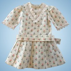 Vintage Cotton Print Doll Dress with Petticoat