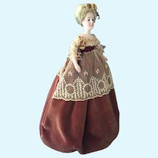 Bisque Lampshade Doll in Brown Velveteen