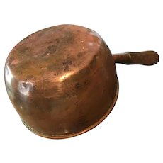 Copper Sauce Pan with Wooden handle.