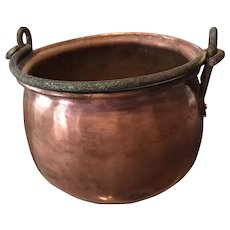 Antique Fireplace Copper Cooking Pot