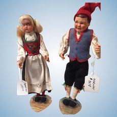 "Pair of 9"" Norwegian Souvenir Dolls"