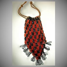 Nice Early Made Black and Orange Beaded Purse