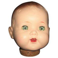 Cute Vintage Large Hard Plastic Doll Head, Needs Body