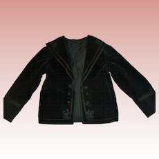 Fabulous Antique Victorian Velvet Child Coat, Soutache Trim