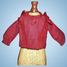 Lovely Antique Wool Challis Fashion Doll Blouse