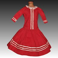 Lovely Dark Red Cotton Antique Doll Dress