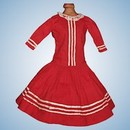 Lovely Dark Red Cotton Antique Doll Dress