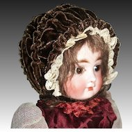 Sweet Chocolate Brown Vintage Velvet Doll Bonnet