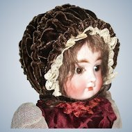 Sweet Chocolate Brown Vintage Velvet Doll Bonnet