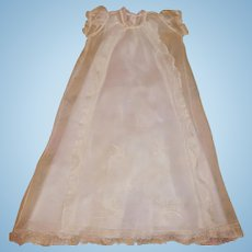 Pretty Early Organdy Baby Doll Christening Gown w Matching Slip
