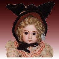 Adorable Antique Wool / Velvet Doll Bonnet w Ears