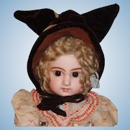 Adorable Antique Wool / Velvet Doll Bonnet w Ears