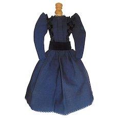 Pretty Vintage Dark Blue Fashion Doll Dress, Early Fabric