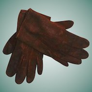 Sweet Pair of Antique  Child's / Large Doll Leather Gloves
