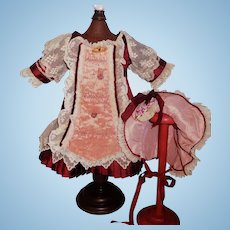 Pretty Burgundy Bebe Dress with Matching Bonnet