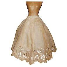 Pretty Antique Ecru Petticoat with Net Lining