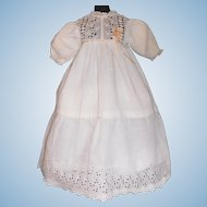 Pretty Antique Doll Dress, Cutwork and Ribbons