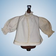 Wonderful Antique White Flannel Fashion Doll Jacket w Feather Stitching