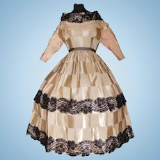 Fabulous Early Silk Fashion / Lady Doll Dress
