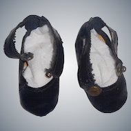 Nice Pair of Early Vintage Black Oil Cloth Doll Shoes