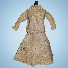 Antique Cotton Calico Skirt and Blouse, China