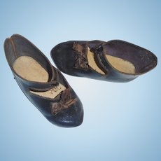 Nice Pair of Antique French Jumeau 12 Leather Shoes, Paris