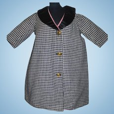 Cute Black and White Check Doll Coat