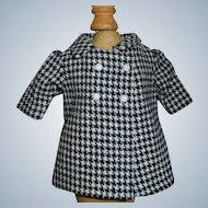 Cute Small Black and White Check Wool Doll Coat