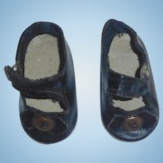 Pair of Antique Oil Cloth Doll Shoes TLC