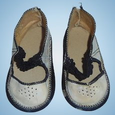 Cute Pair of Antique German Marked Doll Shoes