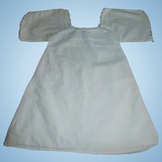 Antique White Cotton Large Doll Chemise, Feather Stitching
