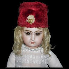 Cute Early Red Faux Fur Doll Hat