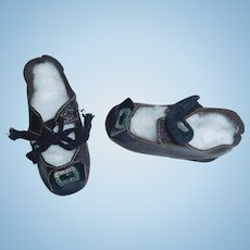 Great Pair of Antique Leather Doll Shoes
