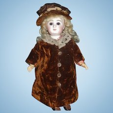 Fabulous Antique Brown Velvet Bebe Coat and Hat